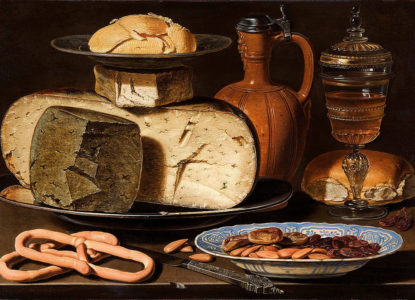 Clara Peeters Still Life with Cheeses Almonds and Pretzels