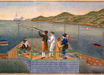 Dutch personnel and Japanese women watching an incoming towed Dutch sailing ship at Dejima by Kawahara Keiga
