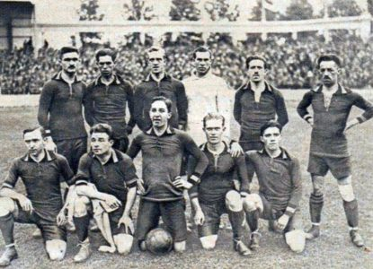 Léquipe de Belgique de football championne olympique en 1920 à Anvers