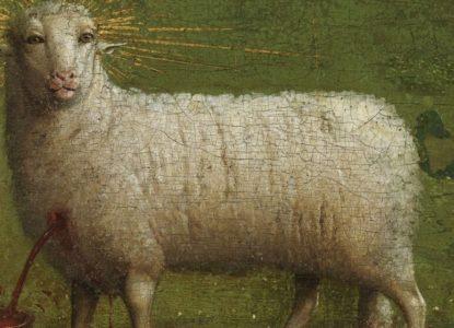 Sint Baafskathedraal Gent www lukasweb be Art in Flanders foto KIK IRPA Detail Lam Gods the Ghent Altarpiece Website banner 300 DPI crop1400x560 tcm14 164079